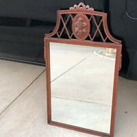 Antique Mahogany Victorian Carved Wood Mirror w Lattice Top Frame / Fleur di lis