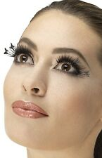 Ladies Long Black Winged Butterfly Mini Beast False Fake Eyelashes Fancy Dress