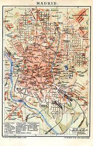 Spain, Madrid, plan, map.. Antique lithograph..1902