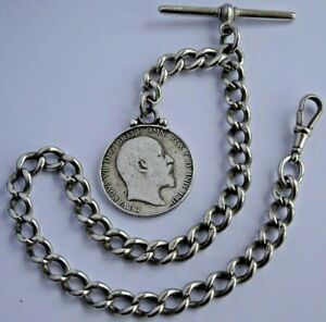 Superb antique solid silver pocket watch albert chain & silver 1902 coin fob