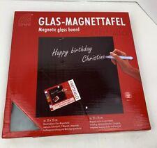 Corkline Magnetic Glass Message Board - 35cm x 35cm - White/Gray Memo Dry Erase