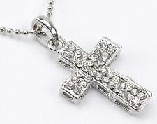 "Necklace Silver CROSS Rhinestones Christian Adjustable 16-18"" Women Jewelry 03"