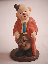 Whimsical Blue Tie Clown Bisque Figurine Leaning on Fence Post Home Shelf Decor