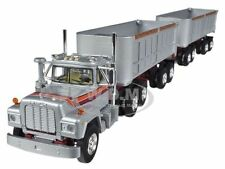 MACK R WITH DUAL 22' END DUMP TRAILERS SILVER 1/64 BY FIRST GEAR 60-0269
