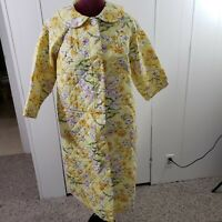Vintage 60s Herbcraft Quilted House Coat Robe L Yellow Floral