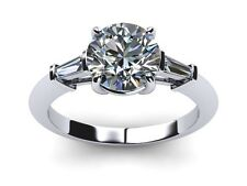 2.50 CT ROUND D/VVS2 CLARITY ENHANCED DIAMOND  ENGAGEMENT RING 18K WHITE GOLD