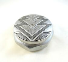 RARE SMALL FRENCH ART DECO ALLUMINIUM BOX JEWELRY CASE GEOMETRIC 1930 bauhaus