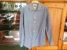 Crew Clothing Algodón Para Hombres azul blanco negro rayas camisa tamaño mediano en muy buena condición