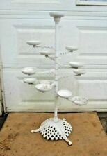 Antique Cast Iron Plant Stand 9 Swing Arms 12 Cup Filigree Basket Tripod Base