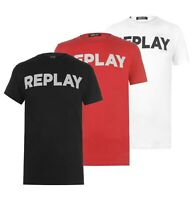 Mens Replay Logo Cotton Lightweight Ribbed Stylish T Shirt Sizes from S to XXXL