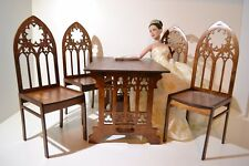 NEW! Bar-Table + 4 chairs for Dolls 16-18 inches Gothic 1/4 Tonner BJD wooden