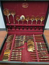 Full canteen of gold plated cutlery 6 setting MR200320S
