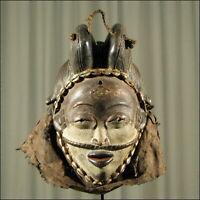 59706) Afrikanische Punu Holz Maske Gabun Afrika KUNST