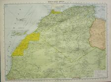 1934 LARGE MAP ~ NORTH-WEST AFRICA ~ CANARY ISLANDS RIO DE ORO