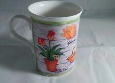 Heirloom Bone China Mug Made in England Gardening Motif Tea Cup English
