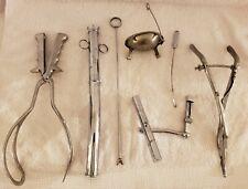 Antique Doctors Tool Lot of Medical Birth Surgical Forceps Etc Sklar Chrome Usa