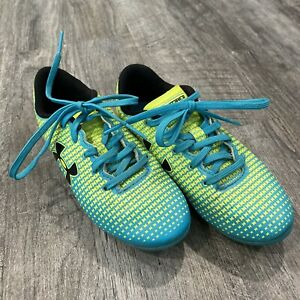 UNDER ARMOUR SPEED FORCE Blue Yellow Molded Soccer Cleats Size 12K 1246301-731