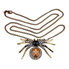 Metal Crystal Rhinestone Spider Pendant Necklace Chain New
