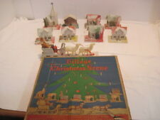 VINTAGE RARE PUTZ CARDBOARD LIGHT UP CHRISTMAS VILLAGE SCENE SANTA ORIGINAL BOX