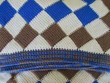 Handcrafted Crochet Twin Size Bedspread in Blue, Toffee, and Cream!