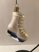 Old World Christmas Ice Skate Blown Glass Euc