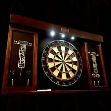 "Premium 40"" Man Cave Game Room Dartboard Cabinet LED Wood Dart Board Set w Darts"