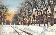 Saco ME Main Street In Snowy Winter Hugh Leighton Publisher Postcard