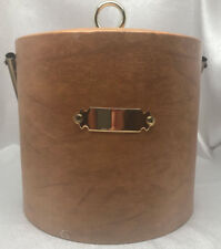 Mcm ~ Georges Briard Ice Bucket ~ Tan Faux Leather ~ Signed ~Mid Century Modern