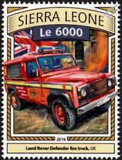 LAND ROVER DEFENDER Fire Truck Vehicle Car Stamp (2016 Sierra Leone)