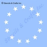 """1.25"""" STAR STENCIL """"13 STARS CIRCLE"""" STENCILS TEMPLATE PAINT CRAFT NEW 12"""" X 12"""""""
