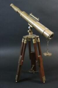 Fernrohr Teleskop Messing mit Holzstativ (MÖ3136)