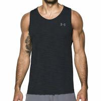 Under Armour UA Threadborne Mens Seamless Tank Black Gym Sports Training Vest