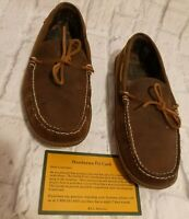 LL Bean Handsewn Brown Suede Flannel Lined Moccasin Slippers Men's Size 12 M