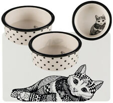 2 x Trixie Zentangle Ceramic Cat / Kitten bowls 0.3 l/ø 12cm & Matching Placemat