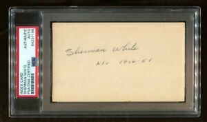 Sherman White Signed Index Card 3x5 Autographed LIU Very Rare PSA/DNA