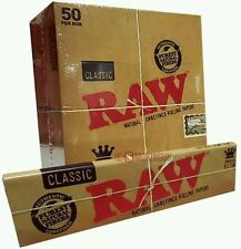 New 50 RAW CLASSIC King Size Slim 110mm Natural Unrefined Rolling Paper Full Box