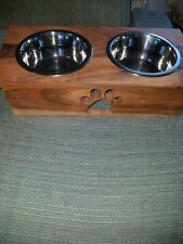 New Small Dog Or Cat Wooden Pawprint Water And Food Bowl