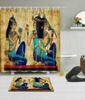 Ancient Egyptian Girl Shower Curtain Liner Waterproof Fabric Bathroom Mat Hooks