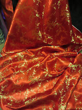 """1M red /gold   FLORAL CHINESE ORIENTAL DESGHN SATIN/SILK FABRIC 45""""WIDE"""