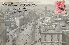 SPAIN - Barcelona - Vista panoramica de las Ramblas - Photopostcard 1911