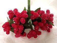 Beaded Berries Red Stamens Wedding Millinery Dolls Flower Crafts Glass