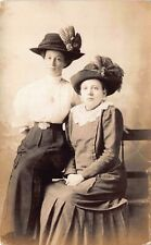 Real Photo Postcard Two Women Wearing Feathered Hats in Photo Studio~127743