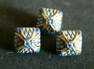 """3 DIMINUTIVE Metal Antique Vtg Buttons BLUE w GOLD Square 1/4"""" Pillow Shape"""
