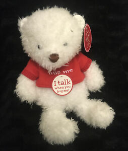 "Hallmark HUG ME BEAR plush White with Red Shirt 16"" Talking"