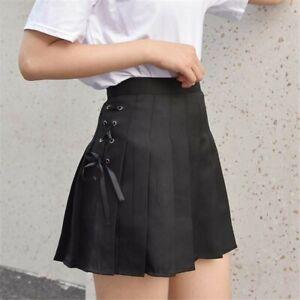 Women Lady Pleated Mini Skirt A-line High Waist Lace Up JK Preppy Harajuku Cute
