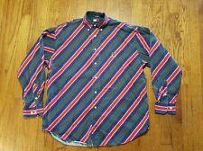 Tommy Hilfiger DIAGONAL Stripe long sleeve button up shirt MEDIUM VTG lion crest