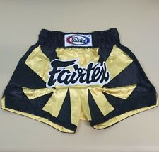 SHORTS FAIRTEX MUAY THAI BOXING MMA YELLOW BLACK 2XL XXL SATIN HEAVY WEIGHT