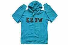 KREW PATCH PINSTRIPE ZIP UP HOODIE TEAL SKATE AUTHENTIC KR3W - IMPORTED FROM USA