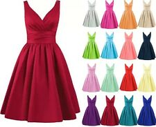 Short Satin Evening Party Homecoming Gown prom Bridesmaid Dress Stock Size 6-20