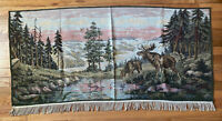 "Vintage Wall Hanging Tapestry Rug - Elk Moose at Mountain Stream - 27 x 52"""